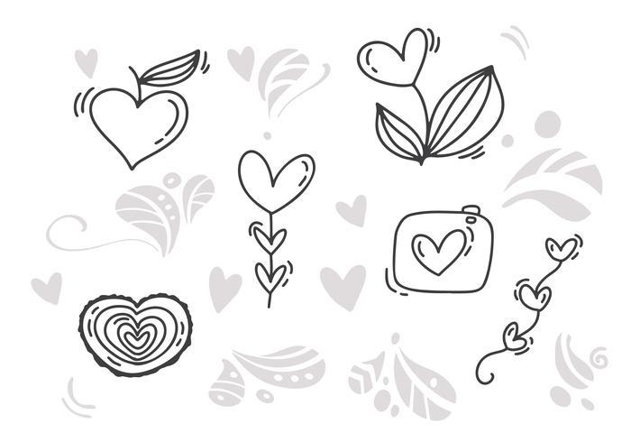 Monoline Dia dos Namorados Desenhados à Mão elementos