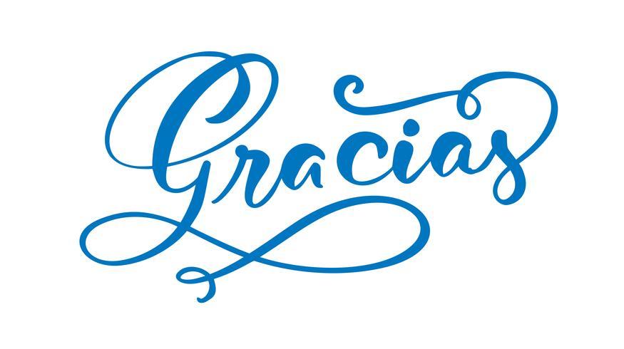 """""""Gracias"""" (""""Tack"""" på spanska) handskriven bokstäver vektor"""