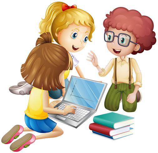 Tre bambini che lavorano al computer