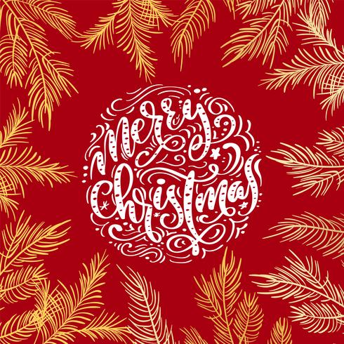 Merry Christmas vector text Calligraphic Lettering design on red background. Creative typography for Holiday Greeting Gift Poster. Calligraphy Font style Banner