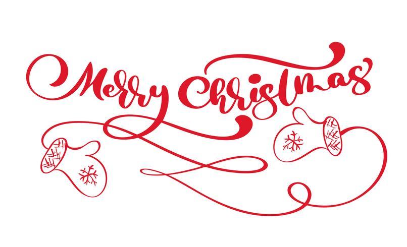 Texto rojo del vector de las letras de la caligrafía del vintage de la Feliz Navidad con el invierno que dibuja las manoplas escandinavas. Para el diseño de arte, maqueta estilo folleto.