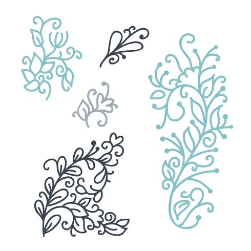 Swirly scandinavian Christmas line curl isolated on white background. Vector monoline flourish vintage for greeting cards. Collection of filigree frame decoration illustration