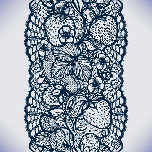 Padrão de renda sem costura abstrata com flores, folhas e morango.