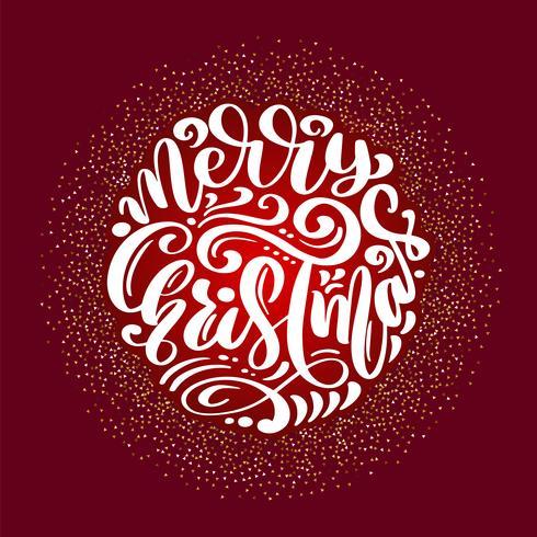 Merry Christmas Kalligrafie vector tekst. Belettering van ontwerp op rode achtergrond. Creatieve typografie voor de Giftaffiche van de vakantiegroet. Tekenstijl Banner