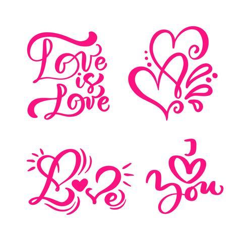 """Ensemble de mots de calligraphie rouges """"Love"""", """"l'amour est l'amour"""" et les coeurs"""