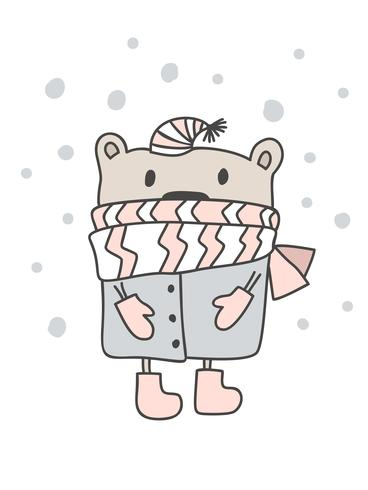 Christmas scandinavian style design. Hand drawn vector illustration of a cute funny winter bear in a muffler, going for a walk. Isolated objects on white background. Concept for kids apparel, nursery print