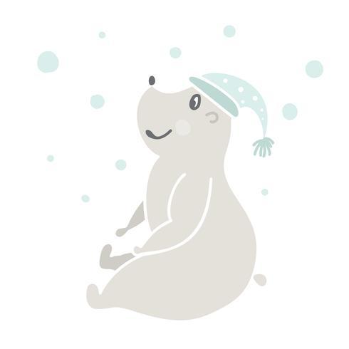 Handritad vektor illustration av en gullig rolig björn i en hatt, sittande utomhus med snö. Skandinavisk stil design. Isolerade föremål på vit bakgrund. Koncept för barnkläder, barnkammarutskrift