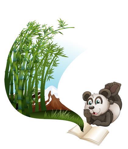 Panda läser bok om bambu
