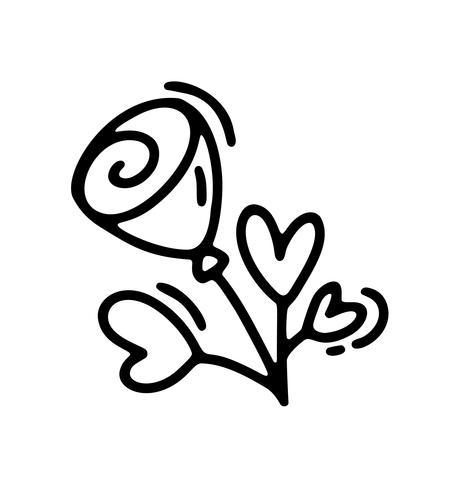 Vektor monoline blomma med hjärtan. Valentinsdag Hand Drawn ikon. Holiday sketch doodle Design växtelement valentin. kärleksdekoration för webben, bröllop och tryck. Isolerad illustration