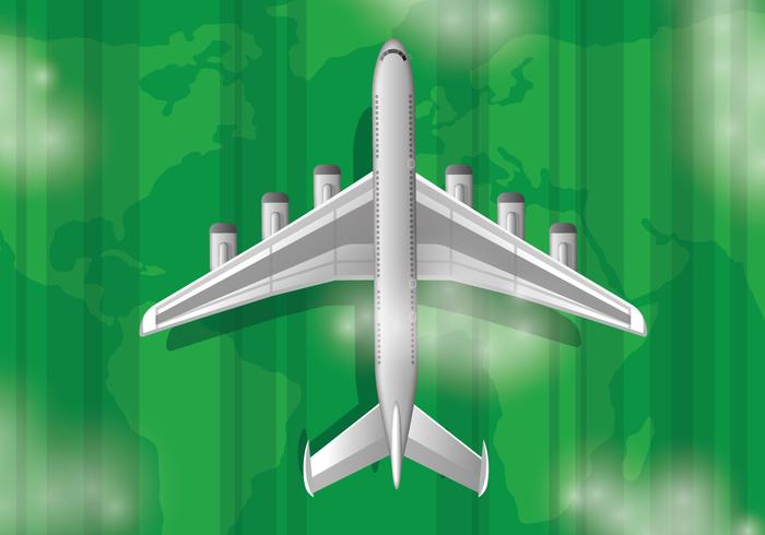 Avión realista con fondo de paisaje