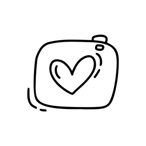 Vector monoline cute camera. Valentines Day Hand Drawn icon. Holiday sketch doodle Design element valentine with Heart. love decor for web, wedding and print. Isolated illustration
