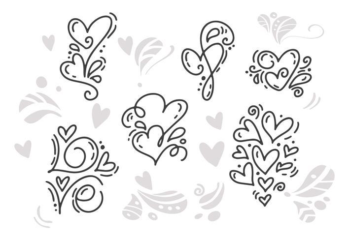 Monoline Valentijnsdag Hand getrokken elementen