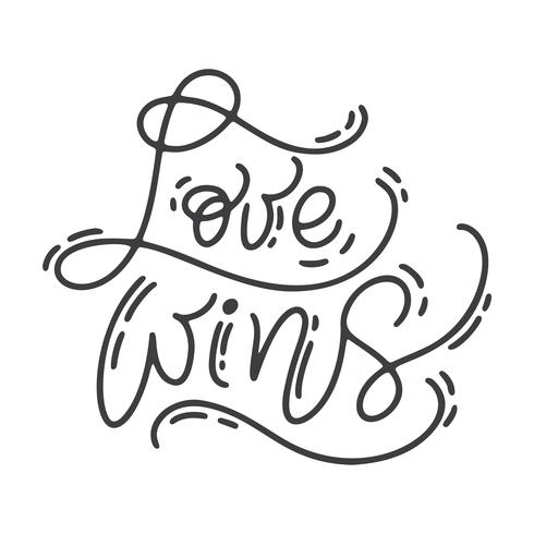 Vektor Monoline Kalligraphiephrase Liebe gewinnt. Valentinstag handgezeichnete Schriftzug. Herz-Feiertagsskizzengekritzel Design-Valentinsgrußkarte. Liebesdekor für Web, Hochzeit und Print. Isolierte darstellung