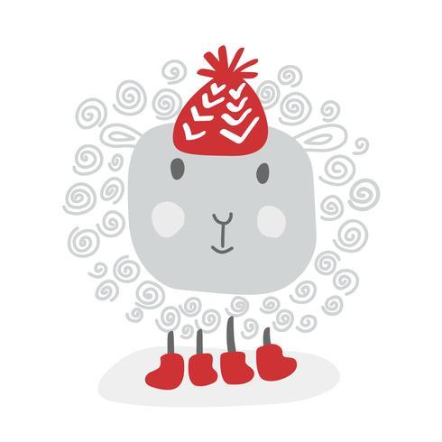 Vector las ovejas blancas del garabato divertido del vector en el sombrero rojo del invierno, bosquejo para su diseño. Aislado sobre fondo blanco