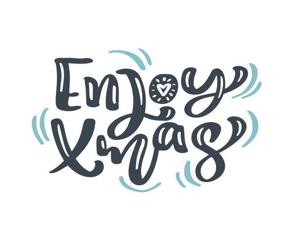 Genießen Sie Weihnachtsweihnachtsweinlesekalligraphie, die Vektortext mit skandinavischem Flourishdekor des Winters zeichnet. Für Kunstdesign, Mockup-Broschürenstil, Bannerideenabdeckung, Broschürendruck-Flyer, Poster