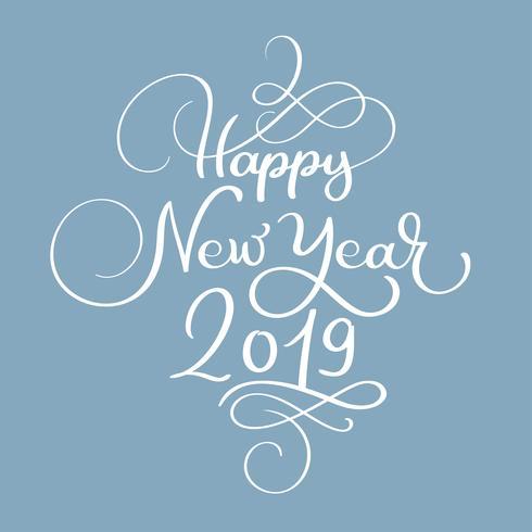 Gott nytt år 2019 vit jul vintage kalligrafi bokstäver vektor text med vinter blomstra kalligrafiska element. För konstdesign, mockup broschyr stil