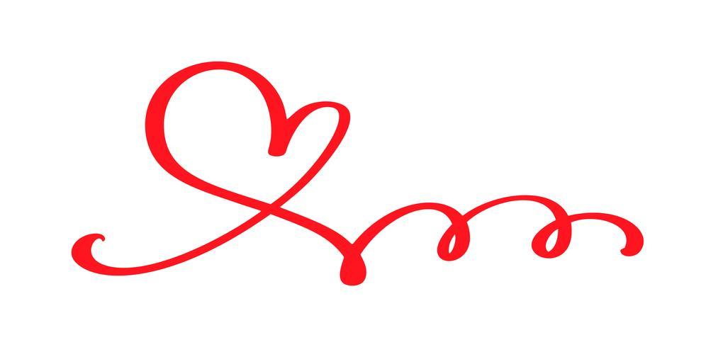 Red Vector Valentines Day Hand getrokken kalligrafische hart. Vakantie ontwerp element valentine. Icoon liefdes decor voor web, bruiloft en print. Geïsoleerde kalligrafie belettering illustratie