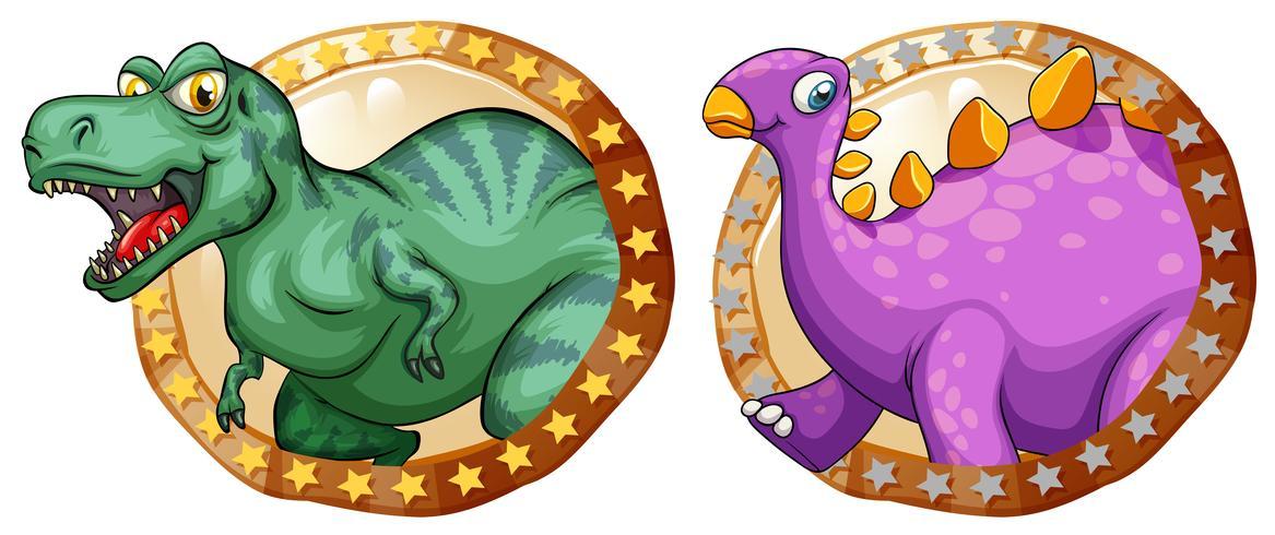 Twee dinosaurussen op ronde kentekens