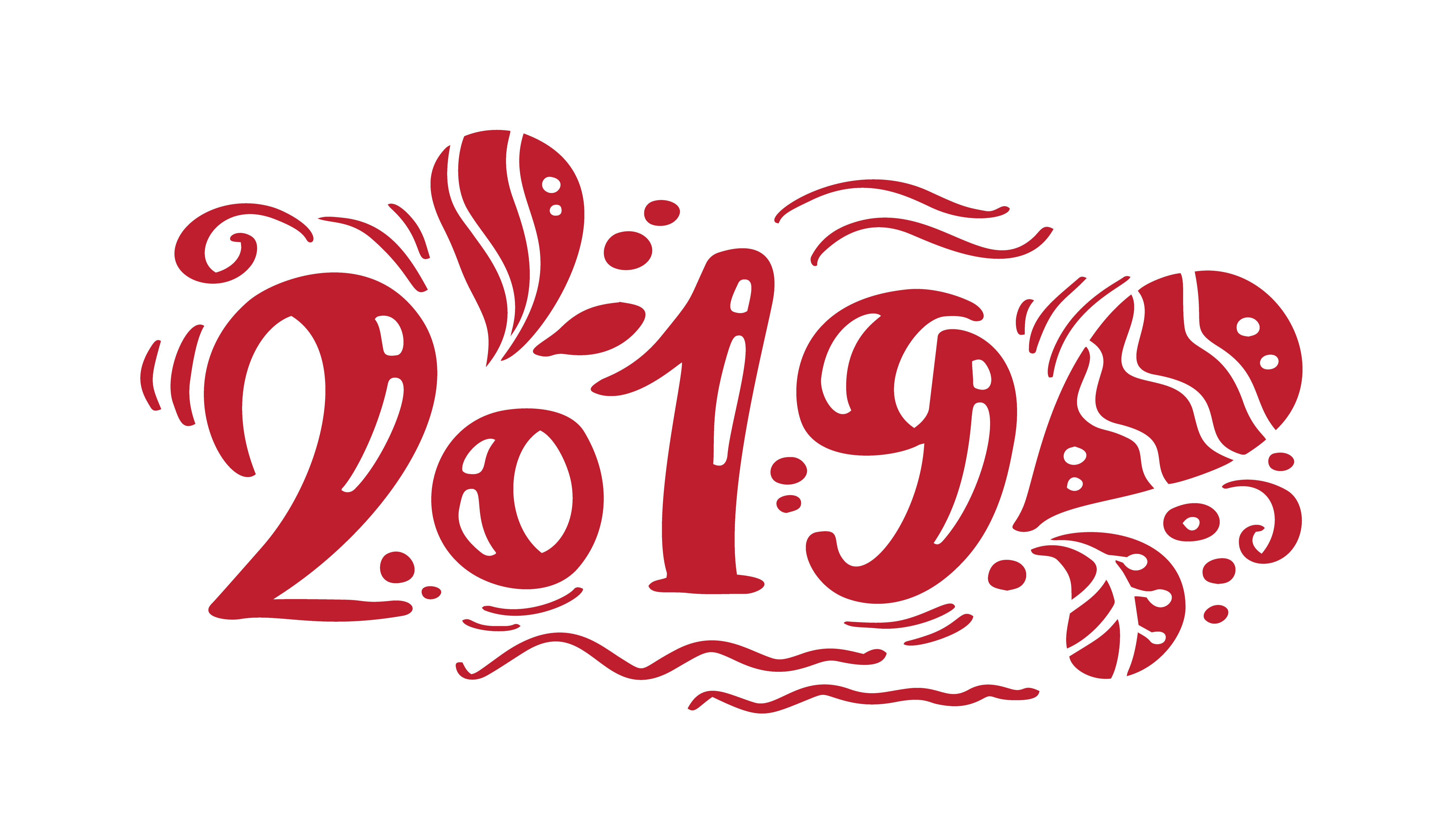 2019 red vintage calligraphy lettering vector christmas