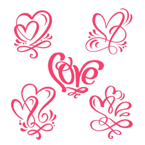 """Set of red Calligraphy word """"Love"""" and hearts"""
