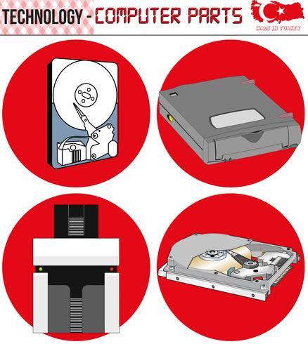 Retro Computer - Ausrüstung, CPU, CD und Diskette, alter Computer, ENV, Vektor