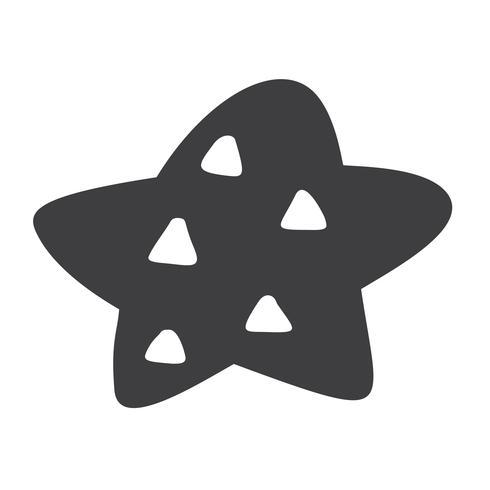 Estrela de vetor escandinavo de Natal. Handdraw silhueta catroon imagem para design de cartão, decoração no travesseiro, t-shirt