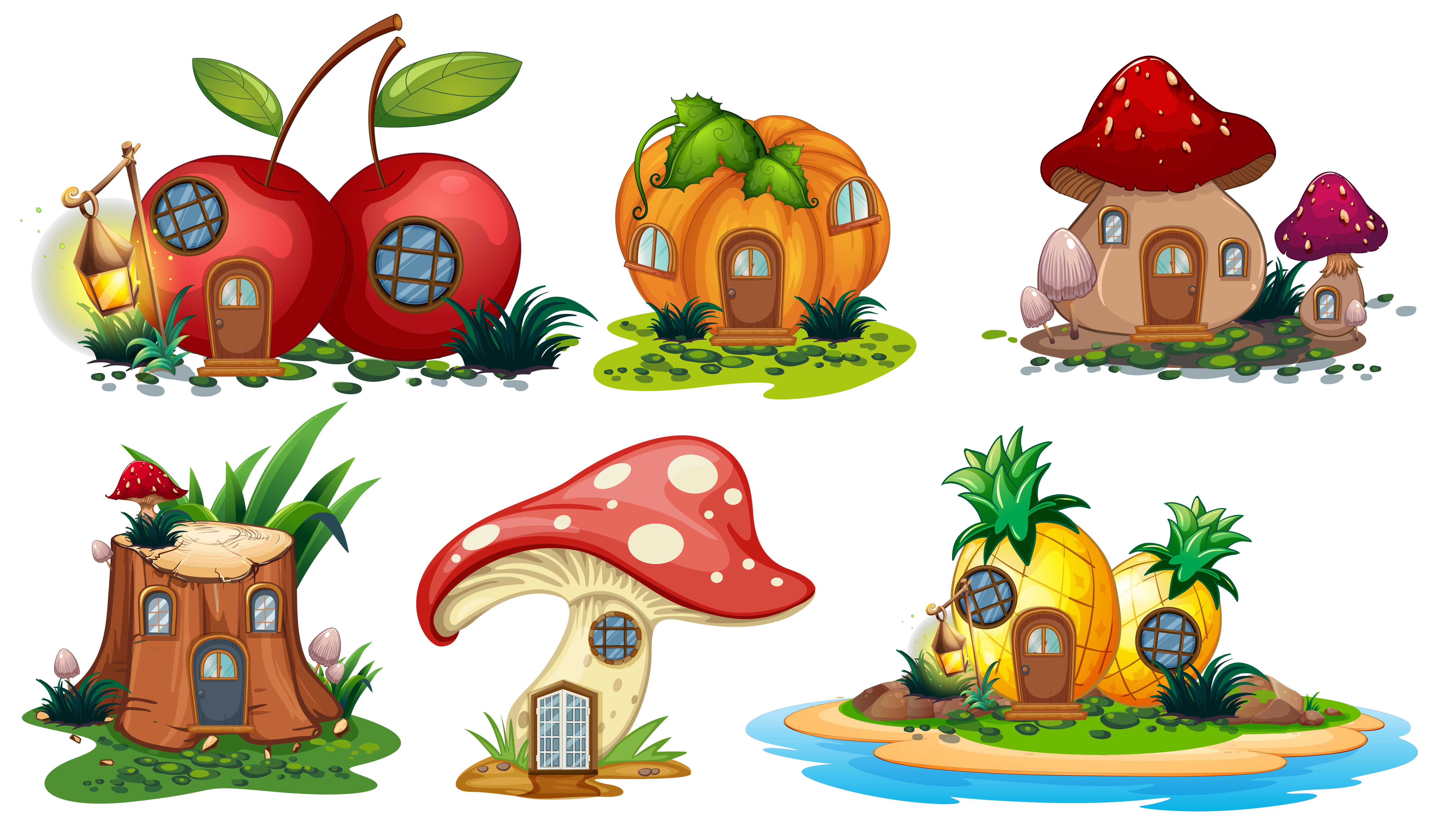 Mushroom And Fruit Houses Download Free Vectors Clipart