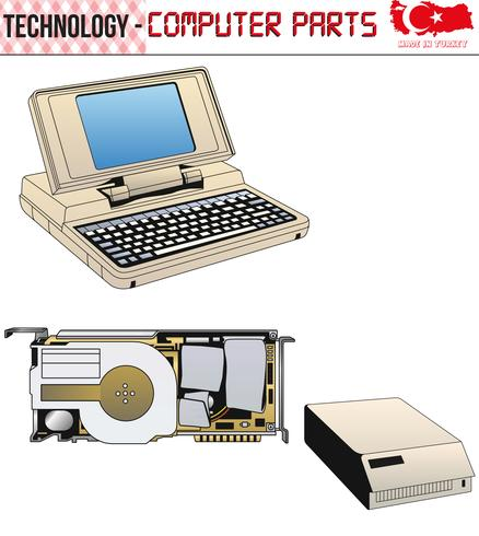 Retro Computers - equipment, CPU, CD and floppy disk, old computer, eps,vector