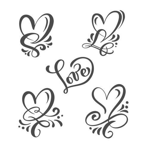 """Conjunto de cinza Caligrafia palavra """"amor"""" e corações"""