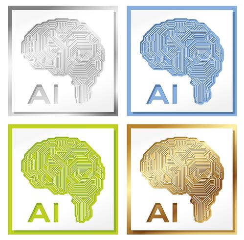 Set of four artificial Intelligence concept illustrations.