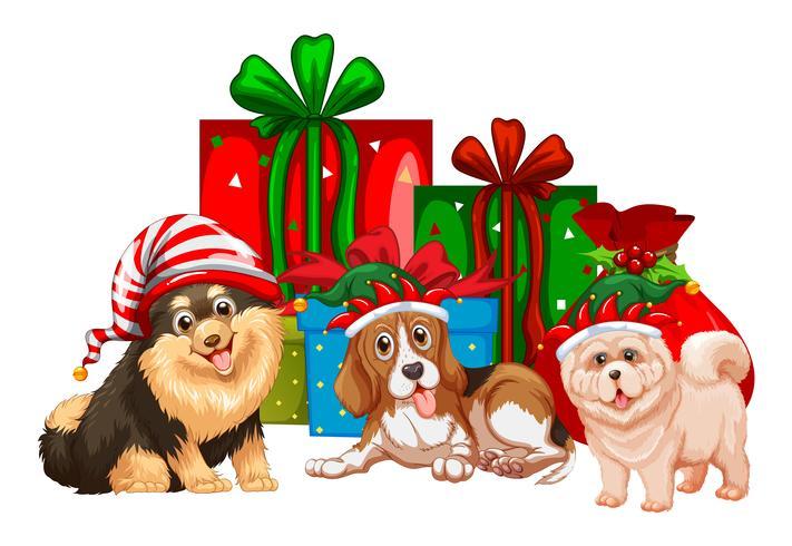 Jultema med hundar och presenter