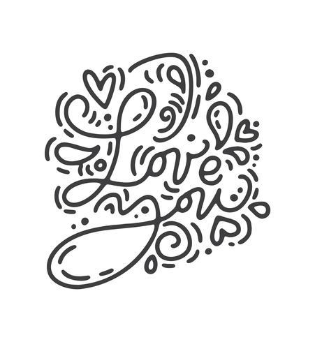 Vektor Monoline Kalligraphie Phrase Ich liebe dich. Valentinstag handgezeichnete Schriftzug. Herz-Feiertagsskizzengekritzel Design-Valentinsgrußkarte. Liebesdekor für Web, Hochzeit und Print. Isolierte darstellung