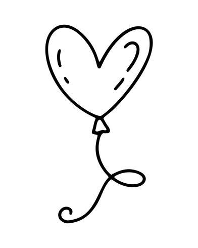 Monoline schattige ballon in vorm van hart. Vector Valentijnsdag Hand getrokken pictogram. Vakantie schets doodle Ontwerp element valentijn. liefdes decor voor web, bruiloft en print. Geïsoleerde illustratie