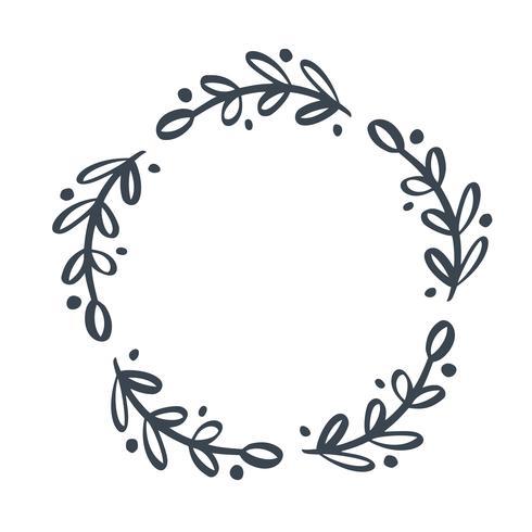 Corona floreale di vettore disegnato a mano scandinavo di Natale con il posto per il vostro testo. Isolato su sfondo bianco per il design retrò fiorire