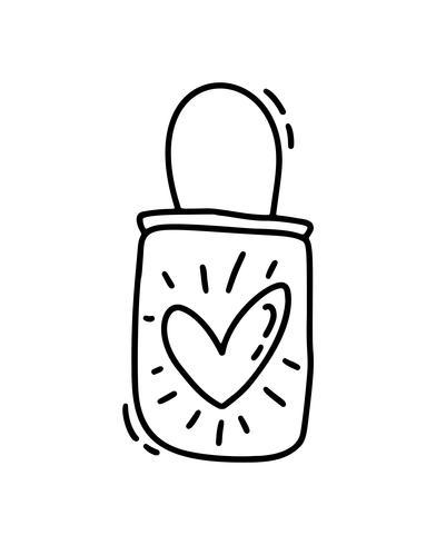 Borsa carina monoline vettoriale con cuore. Icona disegnata a mano di San Valentino. Doodle di schizzo di vacanza San Valentino elemento di design. amo l'arredamento per il web, il matrimonio e la stampa. Illustrazione isolato