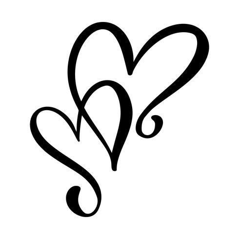Dessin de coeurs d'amour calligraphiques