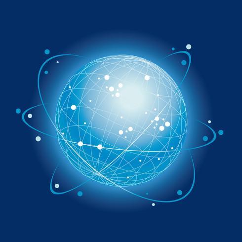 Icona del sistema di rete globale su uno sfondo blu scuro.