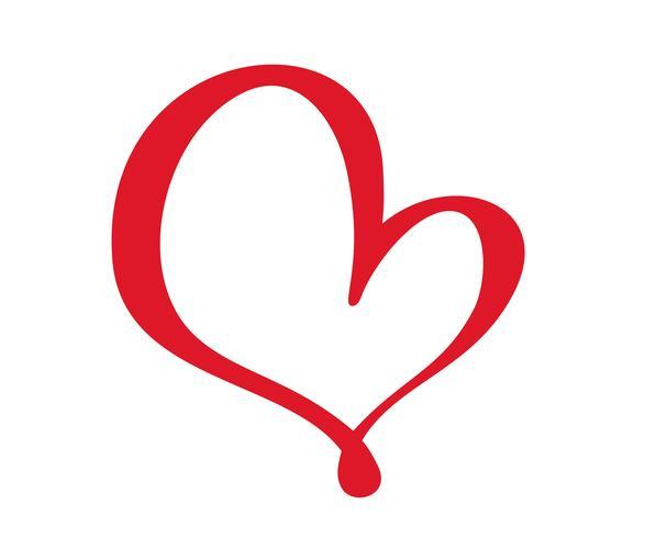 Rote Vektor-Valentinsgruß-Tageshand gezeichnetes kalligraphisches Herz. Feiertagsgestaltungselement. Ikonenliebesdekor für Netz, Hochzeit und Druck. Getrennte Kalligraphiebeschriftungsillustration