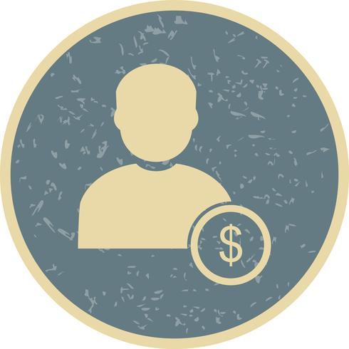 dollaro con l'icona di vettore dell'uomo