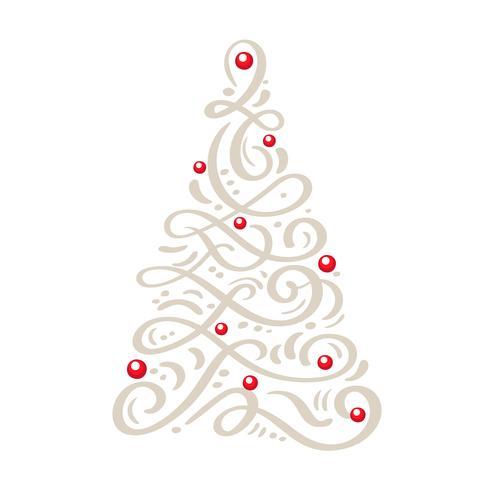 Cartolina d'auguri scandinava di Natale con la calligrafia Albero di Natale dell'annata di vettore disegnato a mano. Oggetti illustrazione isolati