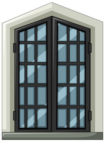 Finestra di vetro con cornice grigia