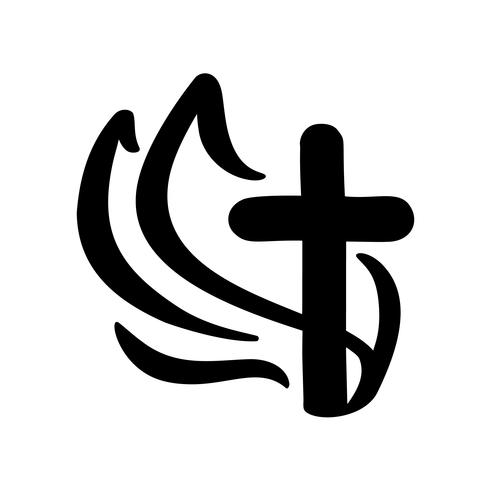 Illustration vectorielle du logo chrétien. Emblème avec le concept de croix avec la vie de la communauté religieuse. Élément de design pour affiche, logo, badge, signe