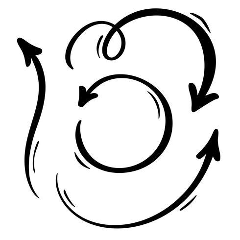 Abstracte vector pijlen instellen. Doodle met de hand gemaakt markeerstift. Geïsoleerde schets illustratie voor notitie, businessplan, grafische presentatie
