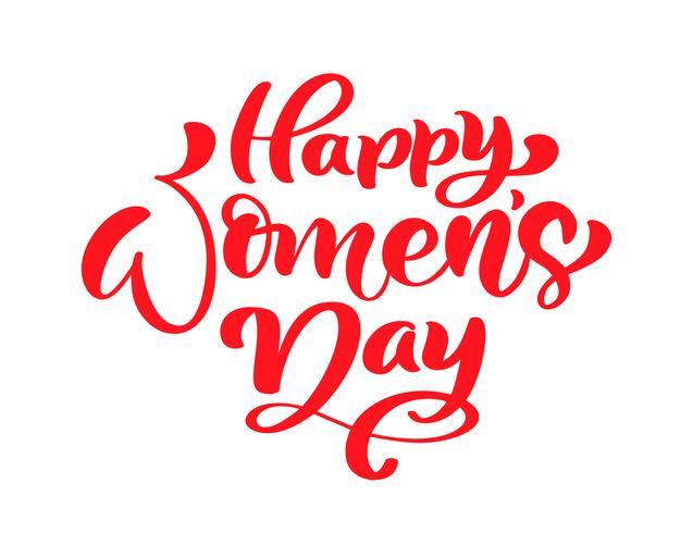 Frase di calligrafia rosa Happy Womens Day. Lettering disegnato a mano di vettore. Illustrazione donna isolata Per la carta di progettazione di scarabocchio di schizzo di festa