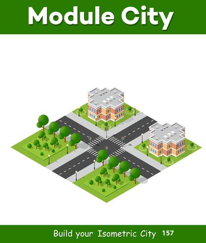 City block quarter district isometric 3D