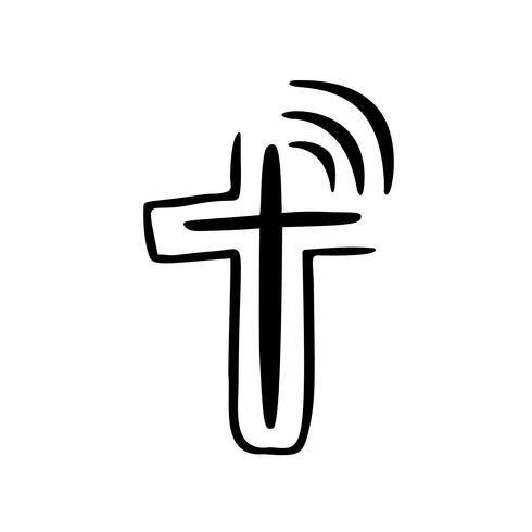 Ilustración de vector de logotipo cristiano. Emblema con concepto de cruz con la vida religiosa comunitaria. Elemento de diseño para el cartel, logotipo, insignia, signo