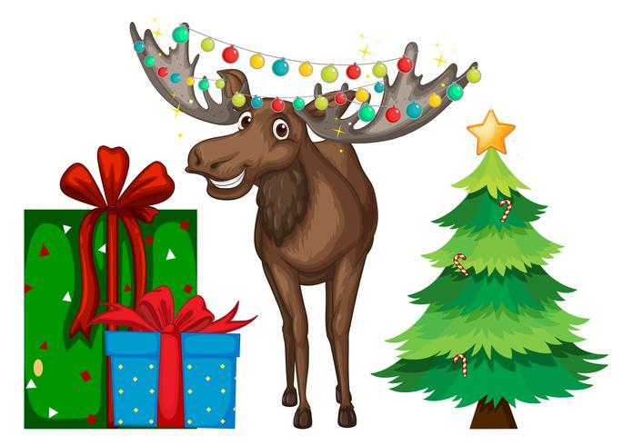 Jultema med ren och träd