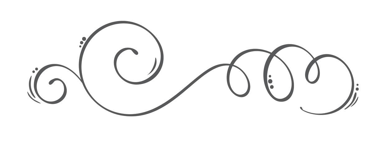 Vector dibujado a mano elementos de diseño caligráfico Flourish primavera. Decoración floral de estilo ligero para web, bodas y estampados. Aislados en fondo blanco Ilustración de caligrafía y letras