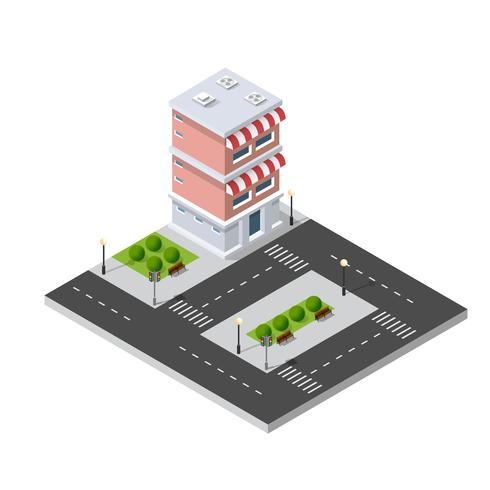 Isometric 3D shop market city