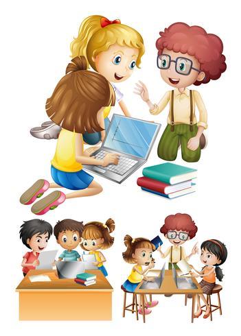 Barn arbetar och studerar tillsammans